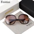 FEISHINI Elegant Fashion High Quality Glasses UVB Good Fatigue Resistance Sunglasses Women Brand Designers Vintage Oval 2017