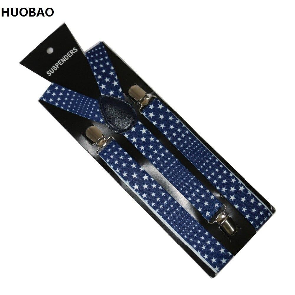 Free Shipping 2017 Women/Mens 2.5cm Wide Clip-on Little Stars Braces Elastic Y-back Suspenders