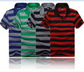 2015 New summer polo shirt for men casual short-sleeve striped big plus size man shirts top  blue,green,grey,red M~3XXXL