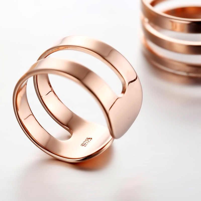 สแตนเลสสตีลแหวน Rose Gold เครื่องประดับคู่คู่แหวนสำหรับผู้หญิงผู้ชายแฟชั่นอุปกรณ์เสริม F31-5