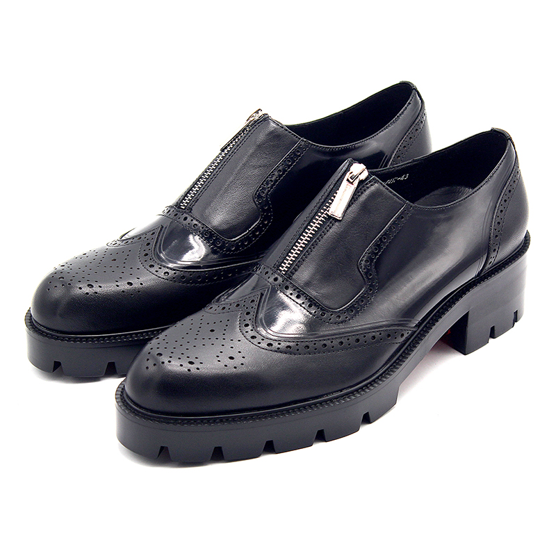 High platform Shoes for men Carved Height Leather Formal Business Shoes Male Big Size euro 45