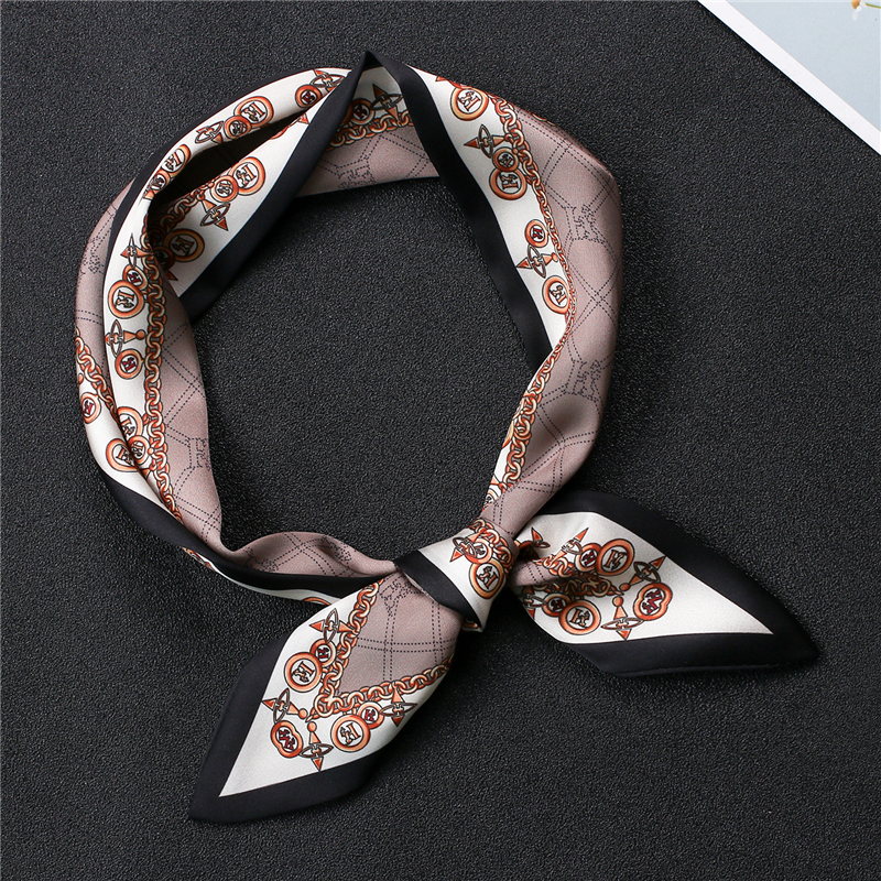 Silk Scarf Women Office Hair Neck Scarves For Ladies Print Neckerchief Fashion Head Wear Female Hand Bag Scarfs Tie