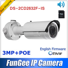 DS-2CD2632F-IS 2.8mm~12mm  Vari-Focal lens  Network ip camera  1080p bullet  security camera IR w/ 3D DNR with Audio/alarm