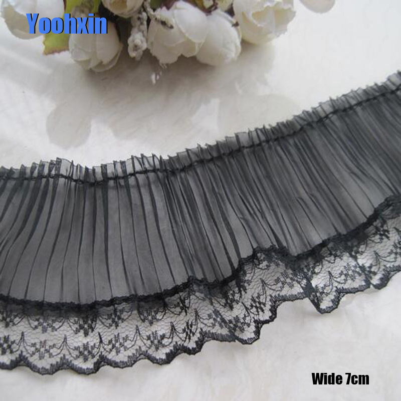7CM Wide HOT Embroidery White black flower lace fabric trim ribbon DIY sewing applique collar fringe dress wedding guipure decor