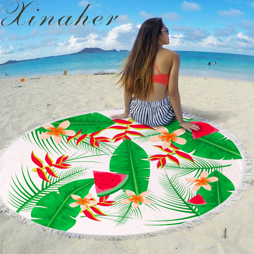 Newest Style Fashion Flowers 450G Round Beach Towel With Tassels Microfiber 150cm Picnic Blanket Mat Tapestry