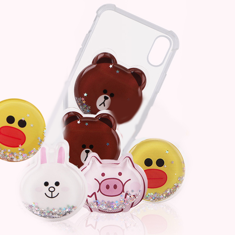 Universal Cartoon Liquid Glitter Mobile Phone Stand Bracket Phone Holder Stress Reliever Squeeze Soft Pack For Iphone Xs Max