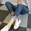 5xl плюс размер джинсы трусики женщины весна осень зима 2016 feminina мике вышивка карандаш брюки джинсовые женские A1673