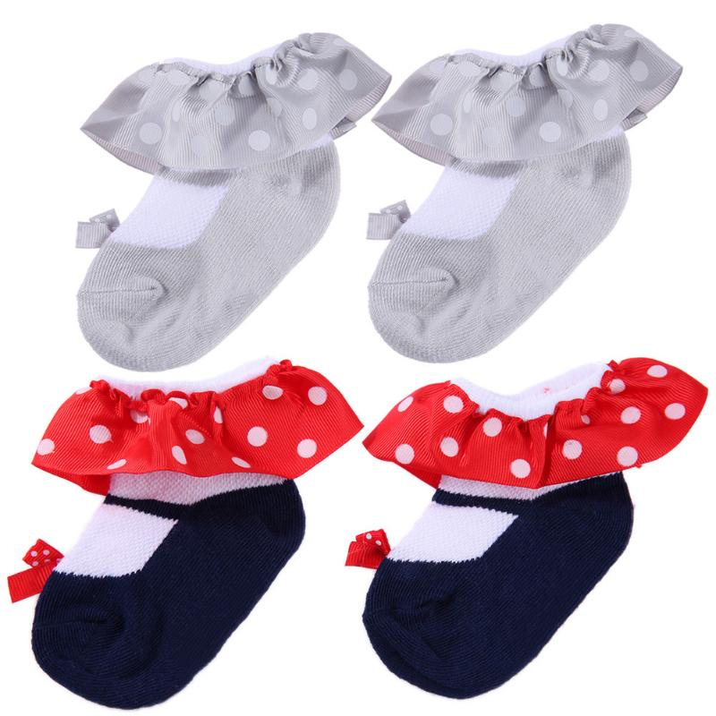 Spring Baby Children Sweet Cotton Infants Pleated Side Princess Socks Ruffle Frilly Ankle Socks Female Solid Color Sock