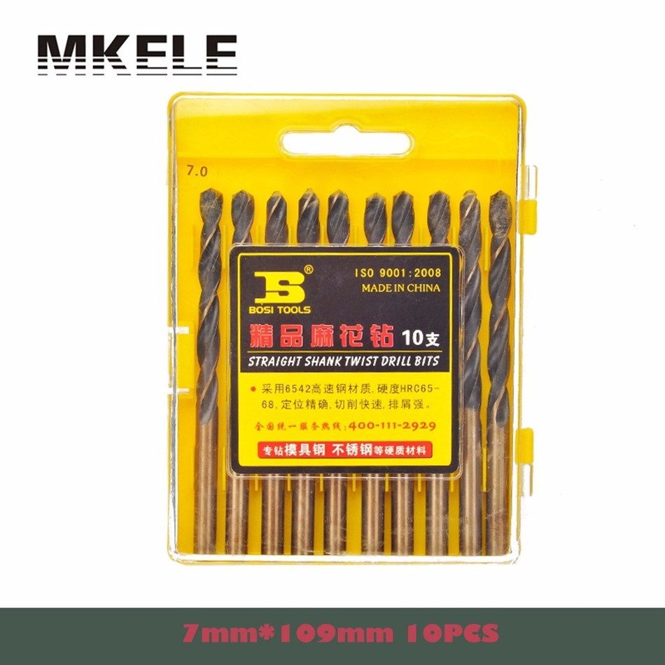 High Quality 10pcs/box 7mm Straight Shank HSS Steel Twist Drill Bit Woodworking For Metal Power Tools Herramientas Ferramentas 10pcs 0 7mm twist drill bits hss high speed steel drill bit set micro straight shank wood drilling tools for electric drills