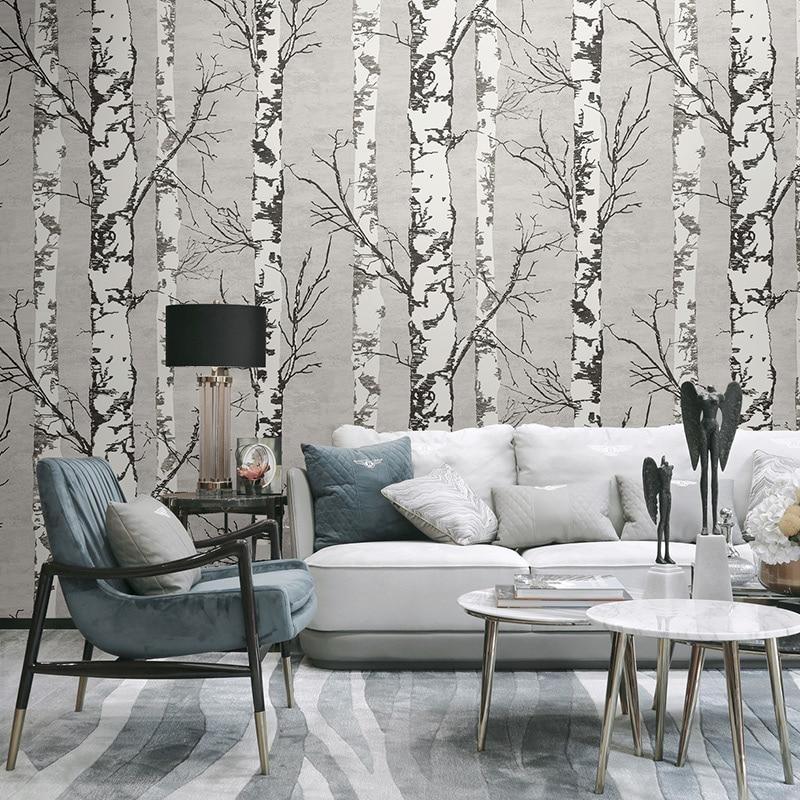 Nordic 3D Stereo Wood Grain Wallpaper Retro Nostalgic Living Room Restaurant Clothing Store Decor Wall Paper White Birch Forest