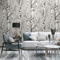 Nordic 3D Stereo Wood Grain Wallpaper Retro Nostalgic Living Room Restaurant Clothing Store Decor Wall Paper White Birch Forest