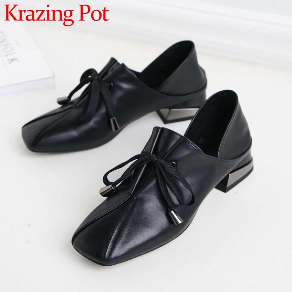 2019 nuevo diseño popular de cuero de grano completo zapatos de tacón bajo clásico de punta cuadrada de encaje sólido zapatos de ocio dulce chicas zapato L86-in Zapatos de tacón de mujer from zapatos    1