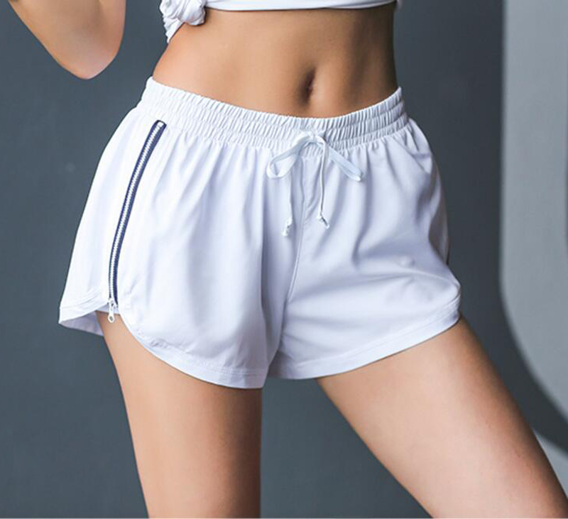 Spring And Summer New Women's Sports Shorts Elastic Waist Side Zipper Side Fitness Running Shorts With Lined Anti-light