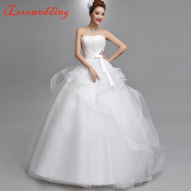 2016 Simple Big Wedding Dresses White Off the Shoulder Floor length ...