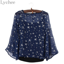 Lychee Sexy Spring Summer Women Blouse Stars Print Flare Sleeve Shirt Cami Two Pieces Set Tops