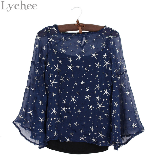 a466cc34 Lychee Sexy Spring Summer Women Blouse Stars Print Flare Sleeve Shirt Cami  Two Pieces Set Tops