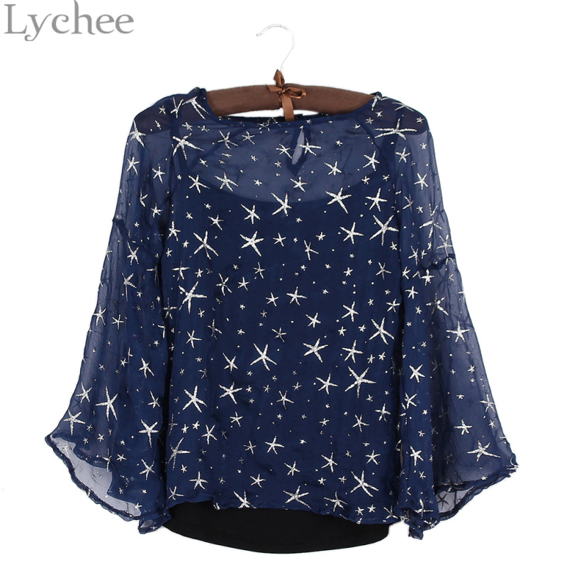 Lychee Sexy Spring Summer font b Women b font Blouse Stars Print Flare Sleeve Shirt font