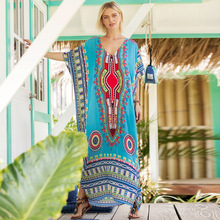 2019 spring and summer hot South American style printing casual fashion dress robe Beach womens