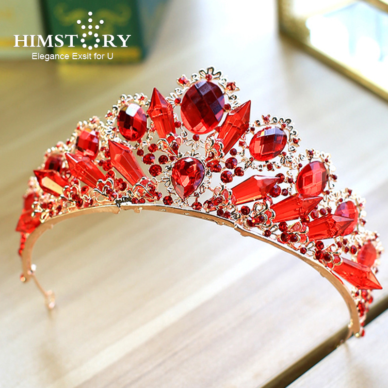 Himstory New Fashion Baroque Luxury Red Crystal Bridal Crown Tiaras Wedding Gold Diadem Tiaras for Women Bride Hair Accessories