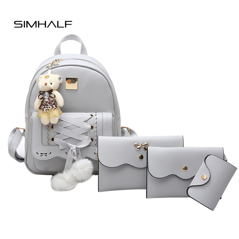 SIMHALF 5Pcs set PU Leather Mini Bow Women Backpack Cute School Bags For Teenage Girls sac
