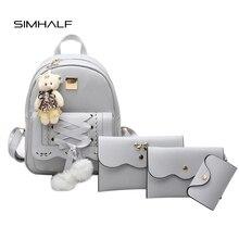 Simhalf 5 шт./компл. искусственная кожа Мини бантом рюкзак милые школьные сумки для девочек-подростков SAC DOS Рюкзак плеча Сумка Кошелек Горячие