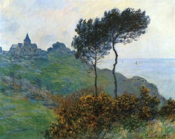 High quality Oil painting Canvas Reproductions The Church at Varengaville, Grey Weather (1882)  By Claude Monet hand painted