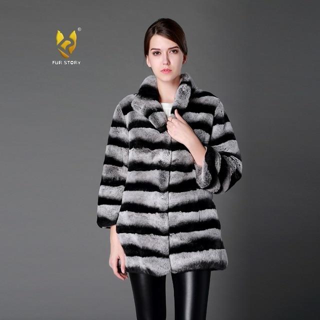 e7229f6f221 Fur Story Women s Natural Fur Coat 14176B Real Rex Rabbit Fur Coats  Chinchilla Color Plus Size