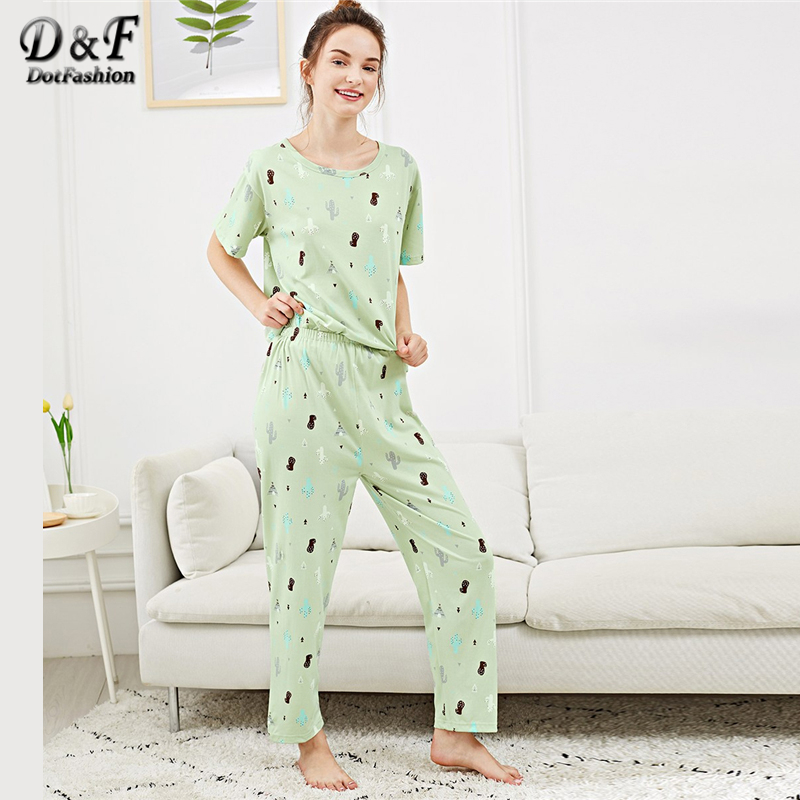 Dotfashion Green All Over Cactus Print   Pajamas   For Women Clothes 2019 Fall New Casual Nightwear Summer Short Sleeve   Pajama     Sets