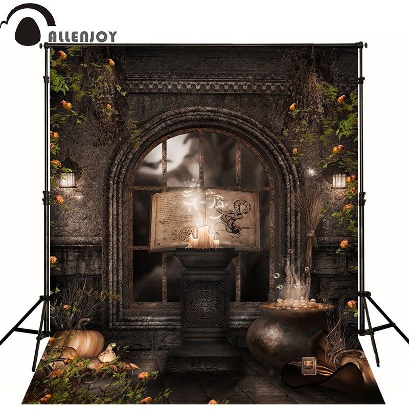 Allenjoy Halloween photo backgrounds vinyl backdrops magic room pumpkin a big book fond studio for children photography room on the broom big book