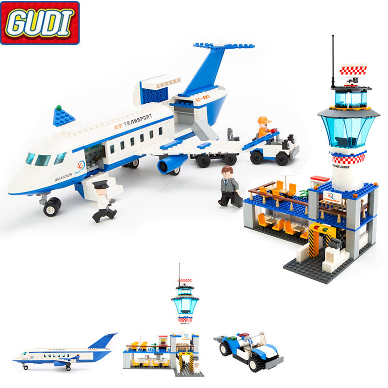 City International Airport Blocks 652pcs Bricks Building Block Sets Educational Toys For Children gudi city international airport