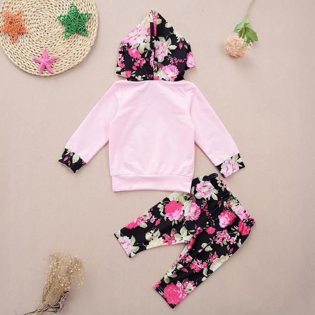 Baby Girls Floral Cotton Hoodie + Pants Clothing Set