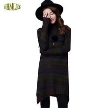 Women Winter Dress 2017 Latest Fashion Knitted Dress Thick Warm Render Women's clothing Large size Leisure Slim Dress G2886