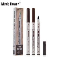 Music Flower Eyebrow Pencil Waterproof Eyebrow Tattoo Ink Pen Ultra-thin Carving Eyebrow Tattooing Penl Sweat-proof 4 Head Fork(China)