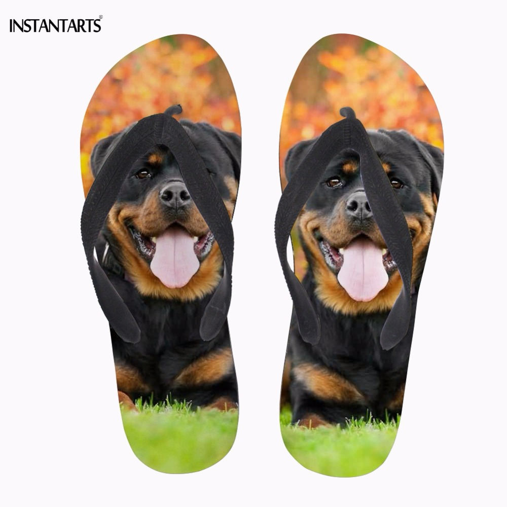 9010c8bec3f1 Detail Feedback Questions about INSTANTARTS Cute Puppy Rottweiler Print  Woman Summer Flip Flops Casual Lightweight Sandals Flipflop Female Beach  Slippers ...