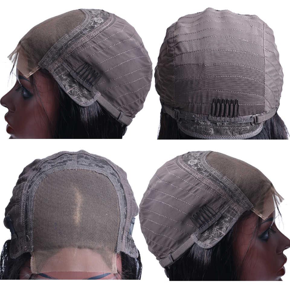 Парики из натуральных волос на кружевной основе для черных женщин, средняя часть, 150% плотность, парики из натуральных волос