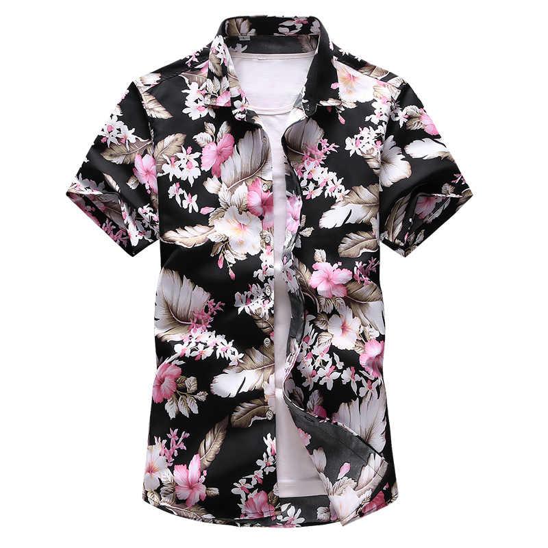 17 цветов, летние пляжные Гавайские мужские рубашки с коротким рукавом, футболка с цветочным принтом, праздничные рубашки Camisa Hawaiana, брендовые рубашки 6XL 7XL
