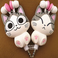 Queijo gato dos desenhos animados fones de ouvido fones de ouvido retráteis automáticas Earpod fone de ouvido fone de ouvido fone de ouvido música presente for kids & girls
