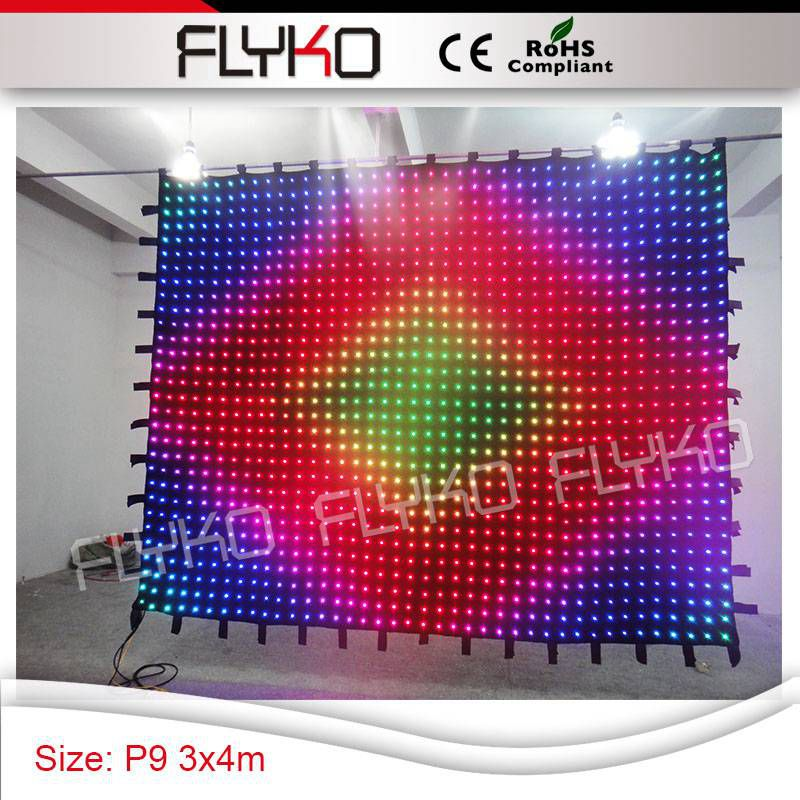 Remote Controller P9 34m Taiwan Sexy Video Hight Quality Soft Led Video Curtain