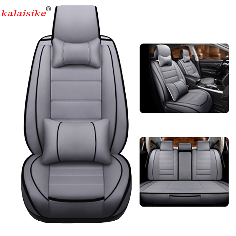Kalaisike Linen Universal Car Seat Covers For Mitsubishi All Models ASX Outlander Lancer Pajero Sport Pajero Dazzle Car Styling