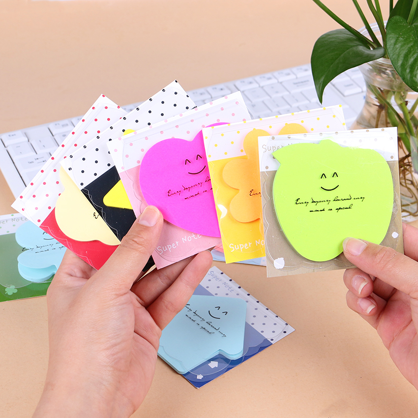 3 PCS Office Stationery Sticky Notes Cute Smile Memo Pad Sticker Post It Bookmark Point It Marker Candy Color Memo Sticker Paper