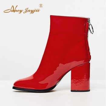Red High Chunky Heels Round Toe Ankle Boots Woman Large Size 11 14 Soft Patent Leather Zipper For Woman Spring Fall Shoes 2019