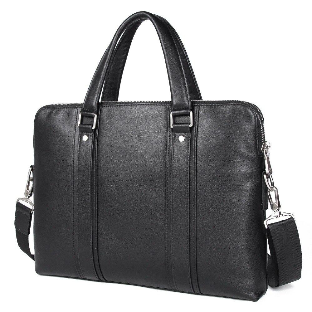 Nesitu Hoge Kwaliteit Blauw Zwarte Koffie Lederen 14 ''Laptop Mannen Aktentas Messenger Bags Kantoor Portfolio M7325-in Aktetassen van Bagage & Tassen op  Groep 2