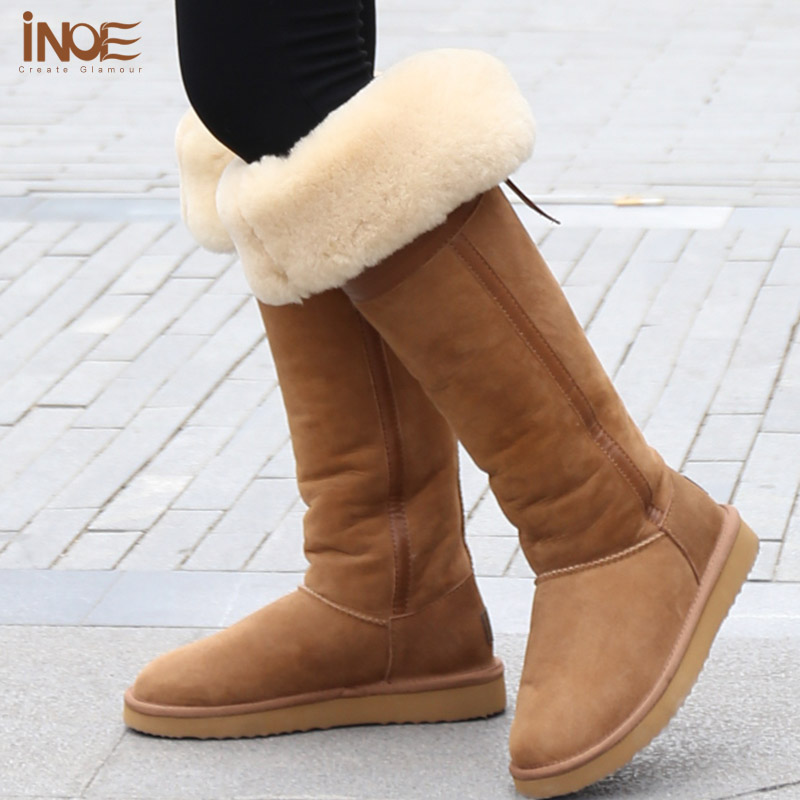 2f07fcc36bf INOE fashion over the knee sheepskin leather fur lined long high winter  suede snow boots for women bowknot thigh winter shoes-in Snow Boots from  Shoes on ...