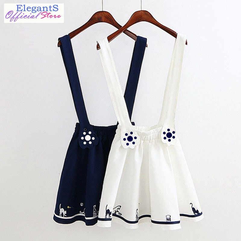 4da0de6517 2019 Women Cartoon Strap Dress Mori Girl Cat Footprint Embroidery Suspender  Dress Sleeveless Sweet Dresses Japan