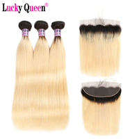 1B 613 Ombre Blonde Bundles With Frontal Remy Human Hair 3 Bundles With 13*4 Lace Frontal Brazilian Straight Hair Lucky Queen