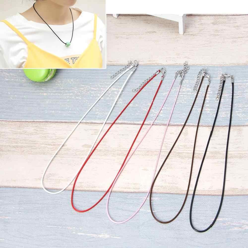 10 sztuk pleciony pasek ze skóry liny naszyjnik z przedłużeniem łańcucha zapięcie do tworzenia biżuterii