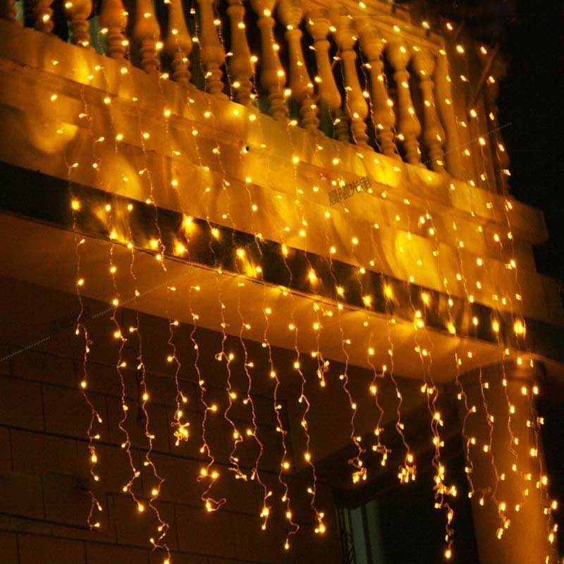 ФОТО New 3*3 m 300 leds LED Lighting String Christmas Lights Curtain Garland Luminaria for Wedding Home Garden Outdoor Bar Decor