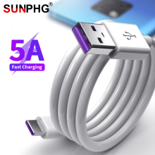 SUNPHG 5A Type C Cable Supercharge USB Fast Charging Cables for Huawei P30 P20 Pro Mate 20 Xiaomi Samsung Phone Charger Wire