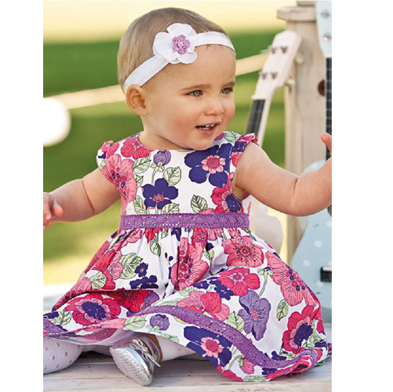 Angel Fashion Flower Girl Dresses Purple Belt Children Clothing Floral Jumper Summer Cotton Baby Girl Clothes Kid dresses