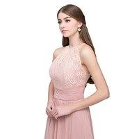 Vnaix X005 תחרה קולר הערב לנשף ארוך שיפון ללא שרוולים קפל Keyhole מסיבת חתונת שושבינה שמלה